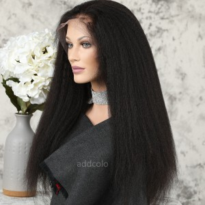 Human Hair 360 Lace Frontal Wigs Natural Color Brazilian Hair Kinky Straight Wig