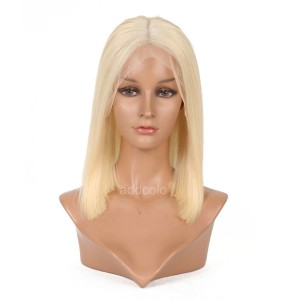 #613 Blonde Human Hair Wigs Instock Bob Straight Blonde Full Lace Wigs