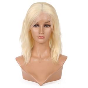 #613 Blonde Human Hair Wigs Instock Bob Wavy Blonde Full Lace Wig