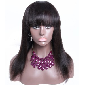 Silky Straight Human Hair Wigs With Thick Bangs Brazilian Hair Silk Base Wigs