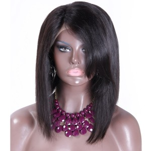 Silk Base Wigs Brazilian Hair Short Bob Wig with Side Bangs Human Hair Wig