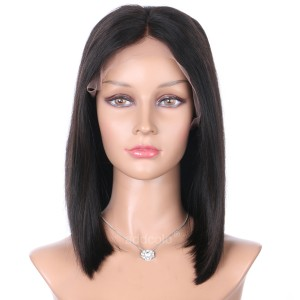 Silk Base Wigs Brazilian Hair Middle Part Short Bob Human Hair Wigs