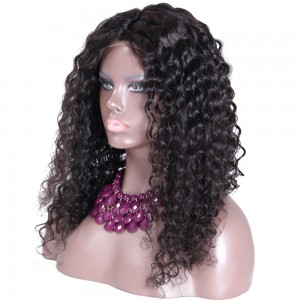 High Quality Human Hair Wigs Loose Curly Middle Part Glueless Silk Base Wigs