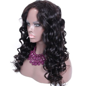 High Quality Human Hair Wigs Middle Part Loose Wave Silk Base Wigs With 150% Density