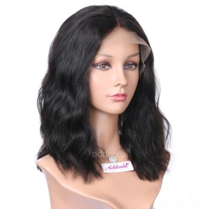 Silk Base Human Hair Wigs Middle Part Natural Wavy Style Cute Bob Wigs For Women