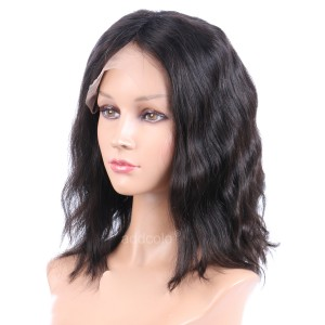 Silk Base Wigs Normal Density Natural Wavy Style Middle Part Human Hair Cut Bob Wigs