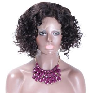 Silk Top Wigs Cute Short Curly Bob Wigs Side Part Human Hair Silk Base Lace Wigs