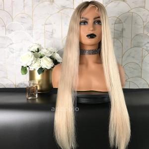 Leslie Remy Hair Lace Front Wigs T1B/Milk Tea