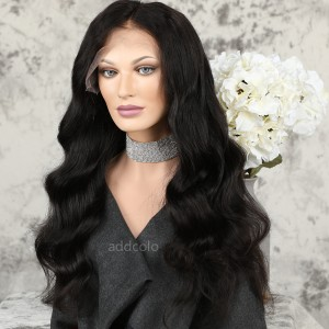 Human Hair Glueless Lace Front Wigs Natural Color Super Wave Silk Base Wigs