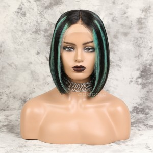 Raihna Virgin Hair Lace Front Wigs #1B/Mint Green Balayage
