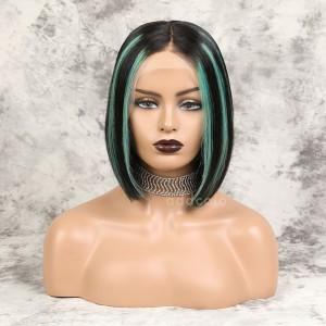 Raihna Virgin Hair Lace Front Wigs #1B/Mint Green Balayage