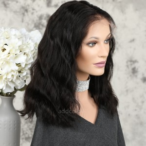 Human Hair Full Lace Wigs Natural Color Brazilian Hair Wavy Bob Wig
