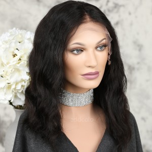Human Hair Full Lace Wigs Brazilian Hair Natural Color Loose Wavy Bob Wig
