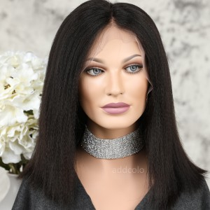 Human Hair Full Lace Wigs Natural Color Brazilian Hair Yaki Bob Wig