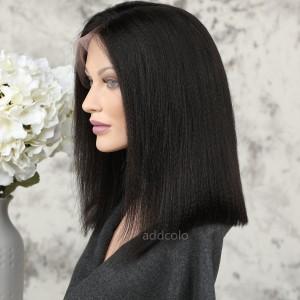 Human Hair 360 Lace Frontal Wigs Natural Color Brazilian Hair Yaki Bob Wig