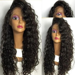 Brazilian Hair Loose Curly Lace Front Wigs Natural Black Color Free Part with Baby Hair