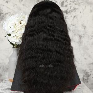 Natural Wavy Human Hair Half Wigs Natural Color Brazilian Hair Machine Made Wigs