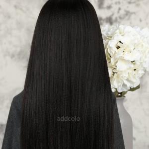 Yaki Straight Human Hair Half Wigs Brazilian Hair Natural Color Machine Made Wigs