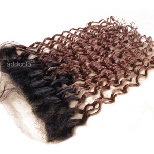 【Frontals】 13x4 Lace Frontal  #1B/#30 Ombre Color Malaysian Loose Curly Hair Frontal