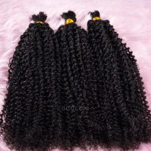 【Addcolo 8A】Bulk Human Hair for Braiding Kinky Curly Natural Black Long Hair