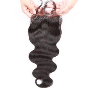 """【Closures】10A Virgin Hair Closure Brazilian Hair Body Wave 4""""x4"""" Closure"""