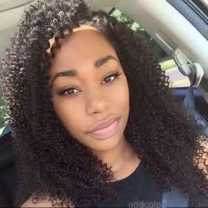 【Wigs】Human Hair Lace Wig Indian Hair Afro Kinky Curly Wig Natural Color