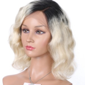 Lace Front Wig Brazilian Hair Bob Wig Ombre Color #1B T #613