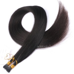 【Addcolo 10A】I Tip Hair Extensions Malaysian Hair Natural Black Color