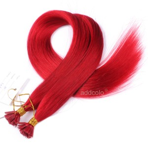 【Addcolo 10A】Flat Tip Hair Extensions Brazilian Hair #Red Color