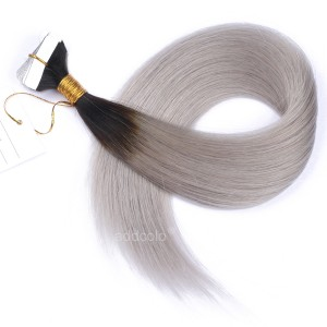 【Addcolo 10A】Tape In Hair Extensions Malaysian Hair #2/Gray Ombre Color