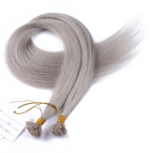 【Addcolo 10A】Flat Tip Hair Extensions Peruvian Hair #Gray Color