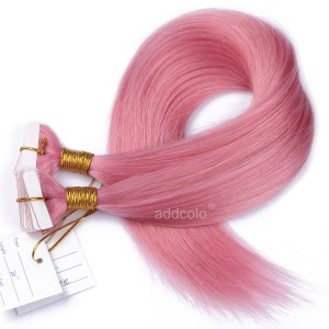 【Addcolo 10A】Tape In Hair Extensions Brazilian Hair #Pink Color