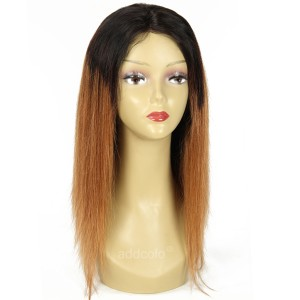 【Wigs】Lace Front Full Lace Wig Brazilian Hair Straight Wig #1B/#30 Ombre Color