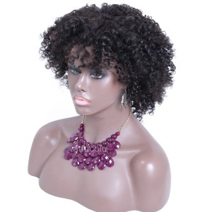 【Wigs】Full Lace Wigs Brazilian Hair Afro Kinky Curly Wig Natural Color