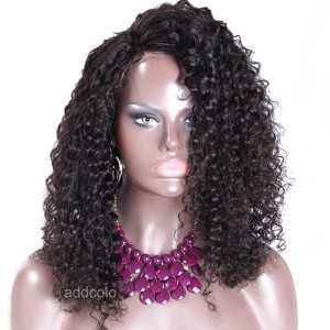 【Wigs】Lace Front Wigs Brazilian Hair Kinky Curly Wig Natural Color