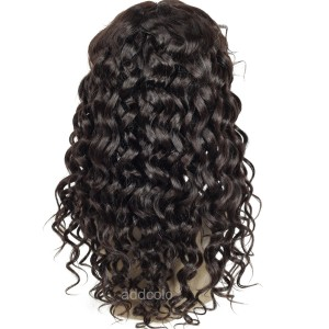 【Wigs】Human Hair Lace Wig Indian Hair Loose Wave Wig Color #1B