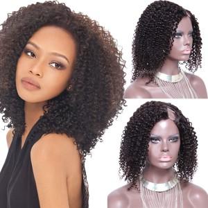 "U Part Wig Human Hair Darkest Brown #2 Afro Kinky Curly 1""x4"" Left Part U Wig"