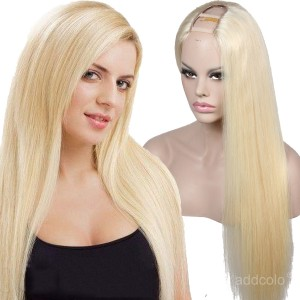 "#613 Blonde Wig U Part Human Hair Wig Silky Straight 1.5""x4"" Middle Part U Wig"