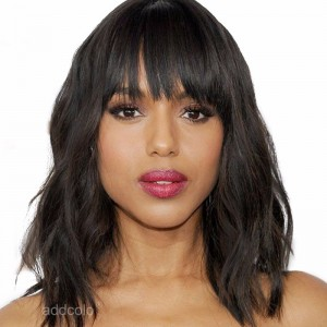 【Wigs】Lace Front Wigs Brazilian Hair Bob Wig with Bangs Natural Color