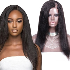 U Part Wig Human Hair Wigs Brazilian Hair Coarse Italian Yaki Wig For Black Women