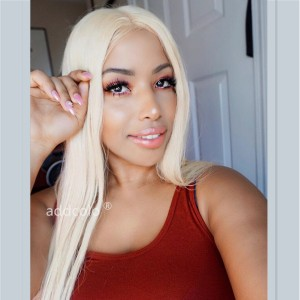 Silky Straight Malaysian Human Hair Blonde Color #613 Lace Wigs