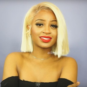 #613 Blonde Human Hair Wigs Instock Bob Straight Blonde 360 Lace Wigs