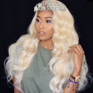 Human Hair Wigs Body Wave Blonde Color #613 Natural Hairline Lace Front Wigs