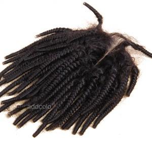 "【Closures】Hair Closure Indian Remy Human Hair Tight Curly 4""x4"" Closure"