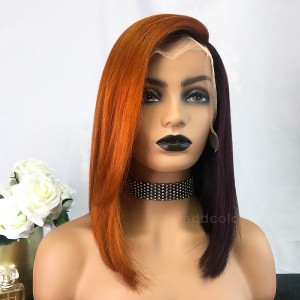 Brenda Virgin Hair Lace Front Wigs Orange & Grape Purple