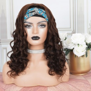 Human Hair Head Band Wigs Loose Wave Machine Made Wigs