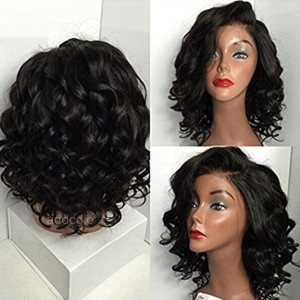 【Wigs】360 Lace Frontal Wigs Brazilian Hair Short Curly Wig Natural Color