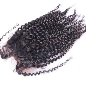 "【Closures】Hair Closure Brazilian Human Hair Kinky Curly 4""x4"" Lace Closure"