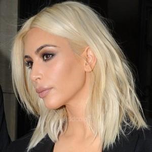 Kim Kardashian Inspired Human Hair Wigs Instock Blonde Color Wavy Bob Wigs