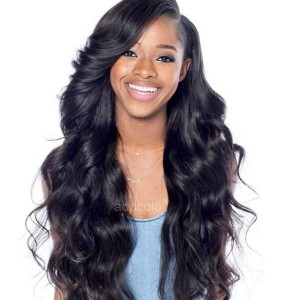 High Quality Human Hair Wigs Silk Base Wigs Natural Wave Middle Part Wigs With Bangs